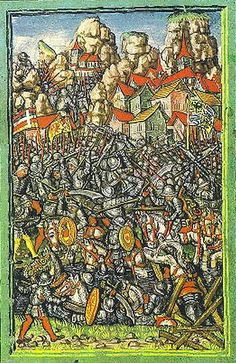 Luzernerchronik [Luzerner Schilling or Luzerner Chronicles], Battle of Giornico, 28 Dec 1478 Medieval Horse, Late Middle Ages, Historical Art, Italian Renaissance, Illuminated Manuscript, Warfare, Knight, Battle, Grenades