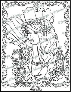 adult printable coloring page papercraft digital image mermaid for scrapbooking mixed media digital stamp by joanne schempp pp003
