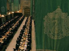 the way the great hall should always be, draped in slytherin colors!