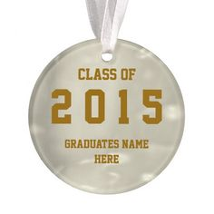 Class of 2015 Gold Round Ornament by Janz