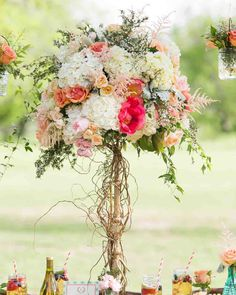 29 Tall Centerpieces That Will Take Your Reception Tables to New Heights – Wedding Centerpieces Simple Wedding Centerpieces, Wedding Flower Arrangements, Flower Centerpieces, Flower Bouquet Wedding, Flower Decorations, Wedding Decorations, Tall Centerpiece, Flower Bouquets, Bridal Bouquets