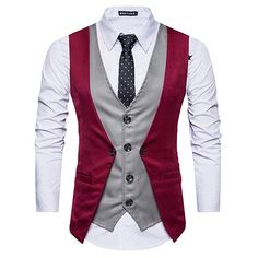 Mens Suit Vest 2019 New Sleeveless Fashion Trend Male Fake Two Piece Pure Color Jacket Vest Business Slim Fit Blazer Vest Coat Mens Suit Vest, Blazer Vest, Young Mens Suits, Waistcoat Designs, Slim Suit, Camisa Polo, Casual Shirts For Men, Vintage, Fashion Men