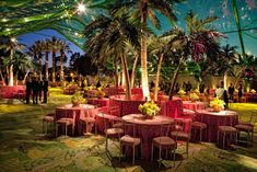 """At HBO's 2010 fete in Los Angeles, the banana-leaf-patterned carpet and animal print linens and seat cushions echoed the party's """"Tarzan and Jane meet Palm Beach"""" motif. Banana and palm trees 30 feet high added to the lush jungle atmosphere."""