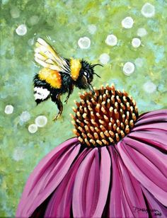 Painting Inspiration Ideas Canvases Projects 57 New Ideas - Painting Bird Painting Acrylic, Bee Painting, Summer Painting, Butterfly Painting, Painting & Drawing, Watercolor Paintings, Flower Paintings, Wine And Canvas, Bee Art