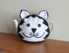 Hand made cat knitted tea cosy mog for your by CraftyCornishMaids