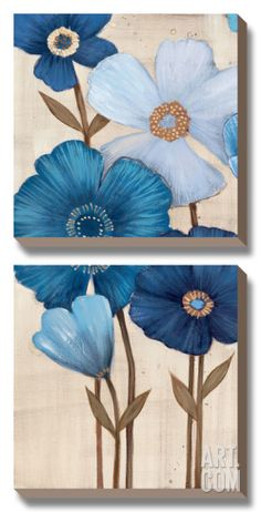 Fleurs Bleues I Canvas Art Set by Maja at Art.com