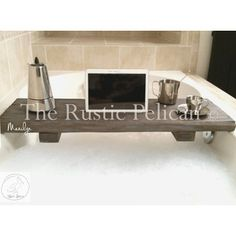 reclaimed wood -barn wood Design- iPad-Bathtub Tray -Tablet