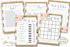 INSTANT DOWNLOAD Printable Bridal Shower Games Package   Glitter Stripe Pink Peony Floral by JanePaperie