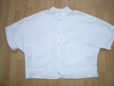 Fab OSKA WHITE LINEN SHORT SLEEVE TOP / JACKET SIZE UK 10 REGULAR