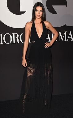 Kendall Jenner from 2015 Grammys After-Party Looks  The model sported a plunging black halter Elie Saab number with a sheer skirt (also one of the night's biggest trends).