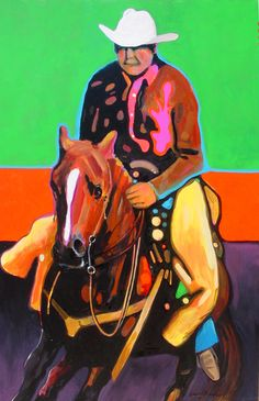 GUY ON HORSE.  Original painting by Vince Neill.