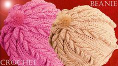 Como tejer a Crochet o Ganchillo gorro boina en punto de hojas dobles en relieve - YouTube