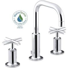 KOHLER, Purist 8 in. Widespread 2-Handle Bathroom Faucet in Polished Chrome with Low Gooseneck Spout, K-14406-3-CP at The Home Depot - Mobile