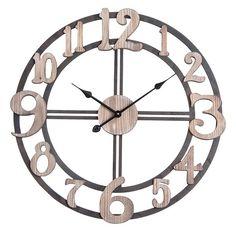 Utopia Alley Oversized Roman Round Wall Clock Diameter Multi-Tone Wood finish, As Shown Farmhouse Clocks, Fake Plants Decor, Wall Clock Online, How To Make Wall Clock, Clock Decor, Wooden Clock, Home Decor Trends, Metal Walls, Accent Pieces