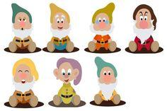 The seven dwarfs Disney Magic, Disney Art, Snow White 7 Dwarfs, Owl Classroom, Felt Sheets, White Balloons, Seven Dwarfs, Stone Crafts, Disney And More
