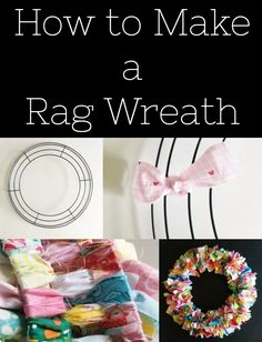 How to Make a Rag Wreath - Simple Simon and Company Wreath Crafts, Ribbon Crafts, Diy Wreath, Fabric Crafts, Wreath Making, Wreath Ideas, Tulle Wreath, Wreath Burlap, Rustic Wreaths