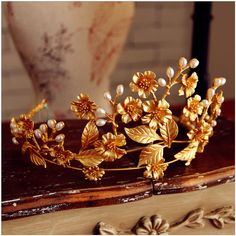 Vintage Wedding Queen Crown Tiara Bridal Crystal Headpiece Leaf Headband Jewelry #weddingheadpiececrowntiarahairaccessories