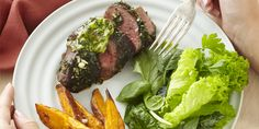 Roasted lamb rumps with herb caper butter