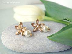 Frangipani earrings Gold Post Earrings Swarovski Pearl