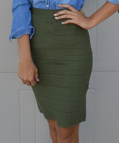 Love this Trinity Tribe Olive Pencil Skirt by Trinity Tribe on #zulily! #zulilyfinds