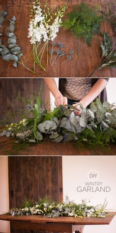 Garland and Wintry Wreaths from Daisy Rose Floral Design - DIY Blumen Deco Floral, Arte Floral, Floral Design, Diy Design, Floral Garland, Flower Garlands, Diy Garland, Table Garland, Garland Ideas