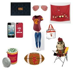 """Game Day USC Trojans"" by uscpoppies on Polyvore featuring Bullhead Denim Co., NIKE, Picnic Time, FANMATS, Ray-Ban, Rawlings and fighton"