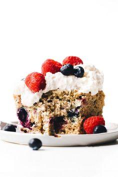Vegan gluten-free Berry Yogurt Cake! Moist, fluffy, and perfect with a drizzle of glaze or dollop of coconut whipped cream! Pumpkin Breakfast Cookies, Feasting On Fruit, Custard Cake, Vanilla Custard, Benefits Of Organic Food, Cake Shapes, Yogurt Cake, Coconut Whipped Cream, Organic Recipes