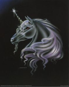 Moonwind Gorgeous Unicorn In Fantasy Art Print