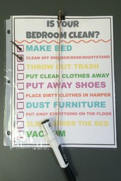 Kids Having A Hard Time Cleaning Their Rooms? Give Them This - Daily Dose of DIY Clean Bedroom Checklist, Kids Chore List Chore List For Kids, Chore Chart Kids, Chore List Printable, Family Chore Charts, Chore Checklist, House Cleaning Checklist, Kids Checklist, Chore Board, Minimalist Kids