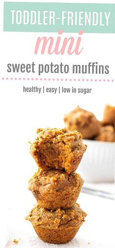 These mini sweet potato muffins make a delicious snack for the whole family Theyre packed with nutrients low in sugar and super moist and flavourful. The perfect little bite for babies toddlers older children and adults paleo glutenfree refined sugarfree  vegetarian Sweet Potato Recipes Healthy, Baby Food Recipes, Snack Recipes, Sweet Potato Toddler Recipes, Paleo Recipes, Baby Muffins, Sweet Potatoe Bites, Sweet Potato Muffins, Sweet Potato Dessert