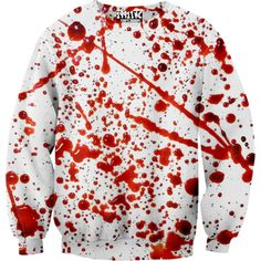 Blood Splatter Sweatshirt 1991INC ($40) ❤ liked on Polyvore featuring tops, shirts, unisex tops and unisex shirts
