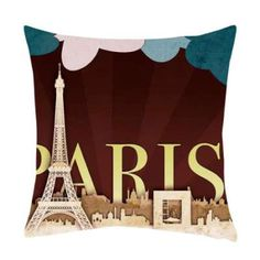 Paris Design Printed Cushion Cover