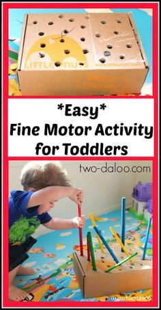 This simple activity uses an upcycled cardboard box and wooden dowel rods to create plenty of opportunities for fine motor development and problem solving.