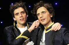 Mika with his wax statue (aka Wika) at the  Musee Grévin on December 6, 2010 in Paris, France