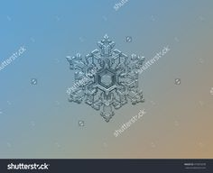 Real Snowflake On Bright Blue-Brown Gradient Background. This Is Macro Photo Of Large Stellar Dendrite Snow Crystal With Complex And Elegant Structure. - 475876258 : Shutterstock