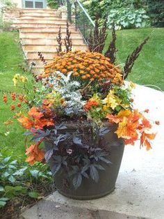 @Jessica Barrie Add mum's and flowering cabbage to existing planters (great if your vine or annuals still look good).