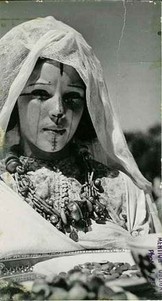old photo of traditional facial tattoo of Berber Culture