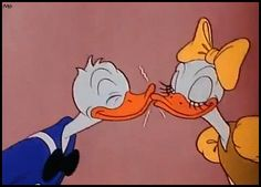 """donald and daisy duck vintage   Daisy and Donald Duck smooch in """"Cured Duck"""" (1945) - Walt Disney"""