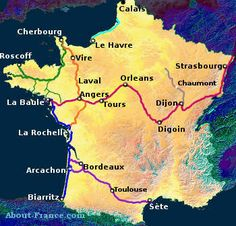 Map of main cycleways in France
