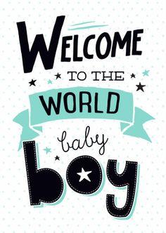 Trendy felicitatie kaart voor de geboorte van een zoontje, verkrijgbaar bij #kaartje2go voor € 1,89