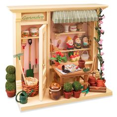 Complete Garden Shop Shadow Box Display | Mary's Dollhouse Miniatures