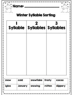 1st grade winter syllable sorting part of 30 page math ela common core packet