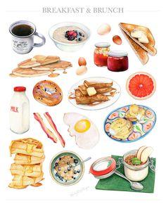Breakfast & Brunch // Limited Edition Food Illustration // Art Print, 11x14