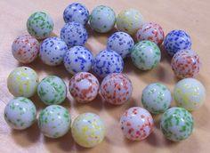 Antique Marbles   VINTAGE GLaSS Marbles Speckled Twenty Five (25) Blue Red Green White ...