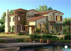 Beautiful Mediterranean style home with a comfortable feel throughout despite gorgeous, luxurious architectural features.