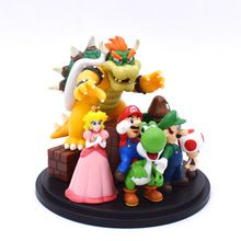 Super Mario World Toys Bowser Princess Peach Yoshi Luigi Action Figure Model