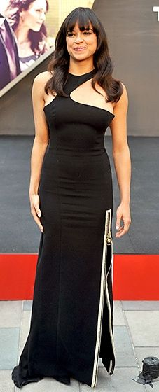 Gorgeous! The film's leading lady looked elegant in a black gown with a zipper slit detail.