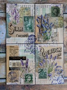 These are 4 ATCS on a single postcard that went through the mail – Margarete Miller Journal Paper, Scrapbook Journal, Junk Journal, Journal Ideas, Collage Book, Collage Artists, Collages, Paper Art, Paper Crafts