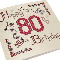 Handmade Cross Stitch Swarovski Crystals 80th Birthday Card - 80 - 'Happy 80th Birthday'.