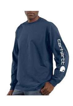 Carhartt Mens K231 Long Sleeve Graphic Logo T Shirt - Dark Blue | Buy Now at camouflage.ca